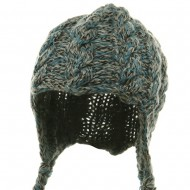 Wool Blend Youth Cable Helmet Hat - Blue