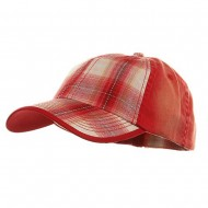 Low Profile Washed Plaid Cotton Cap - Red