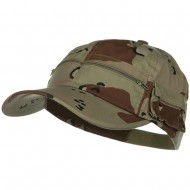 Casual Style Camo Washed Pocket Cap - Desert