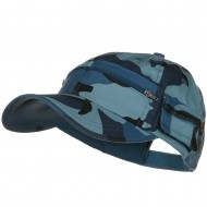 Casual Style Camo Washed Pocket Cap - Sky