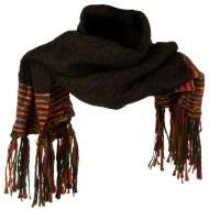Multi Colored Wide Scarf with Tassel - Black