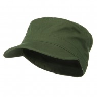 Cotton Fitted Military Cap - Olive