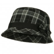 Plaid Wool Felt Cloche Hat with Bow Tie - Black Plaid