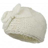 Button Closure Wide Knit Head Band - Cream