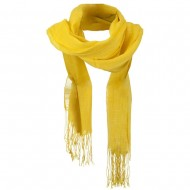 Solid Viscose Long Scarf - Yellow