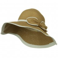Two Tone Paper Straw Hat with Bow - Natural White