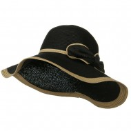 Two Tone Paper Straw Hat with Bow - Black Natural