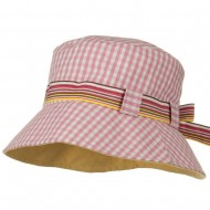 Girl's Checkered Floppy Hat - Pink