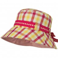 Girl's Checkered Floppy Hat - Pink Yellow