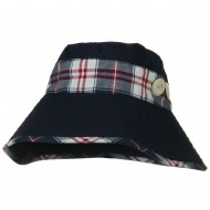Cotton Blend Stitched Plaid Band Bucket - Navy