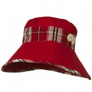 Cotton Blend Stitched Plaid Band Bucket - Red