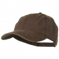 Washed Solid Pigment Dyed Cotton Twill Brass Buckle Cap - Brown
