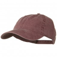 Washed Solid Pigment Dyed Cotton Twill Brass Buckle Cap - Maroon