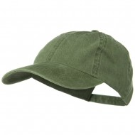 Washed Solid Pigment Dyed Cotton Twill Brass Buckle Cap - Olive Green