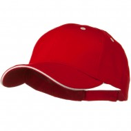 Solid Brushed Twill Sandwich Visor Cap - Red White