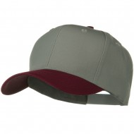 Two Tone Cotton Twill Pro Style Cap - Maroon Grey