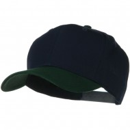 Two Tone Cotton Twill Pro Style Cap - Dark Green Navy