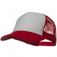 Two Tone Polyester 5 Panel Foam Front Mesh Back Cap - Red White Red