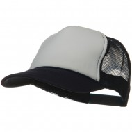 Two Tone Polyester 5 Panel Foam Front Mesh Back Cap - Navy White