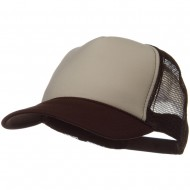 Two Tone Polyester 5 Panel Foam Front Mesh Back Cap - Brown Tan