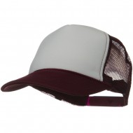 Two Tone Polyester 5 Panel Foam Front Mesh Back Cap - Maroon White