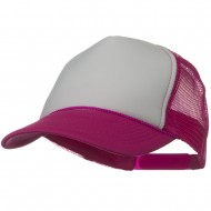Two Tone Polyester 5 Panel Foam Front Mesh Back Cap - Hot Pink White