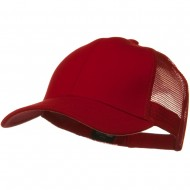Solid Comfy Cotton Jersey Knit Mesh Back Cap - Red