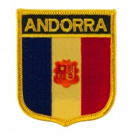 Europe Flag Embroidered Patch Shield - Andorra