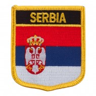 Europe Flag Embroidered Patch Shield - Serbia