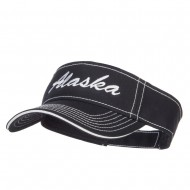 Alaska State Embroidered Contrast Stitch Visor - Black