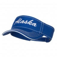 Alaska State Embroidered Contrast Stitch Visor - Royal