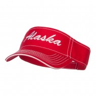 Alaska State Embroidered Contrast Stitch Visor - Red