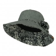 Woman's Polyester Flower Accent Bucket Hat - Black White