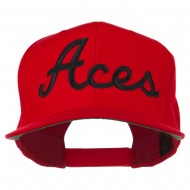 Aces Embroidered Flat Bill Cap - Red