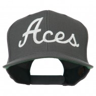 Aces Embroidered Flat Bill Cap - Grey