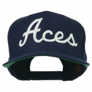 Aces Embroidered Flat Bill Cap - Navy