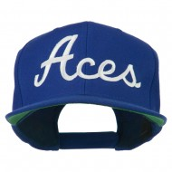 Aces Embroidered Flat Bill Cap - Royal