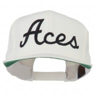Aces Embroidered Flat Bill Cap - Natural