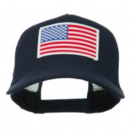 American Flag Patched 5 Panel Mesh Back Cap - Navy