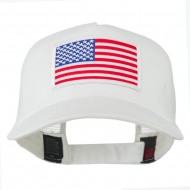 American Flag Patched 5 Panel Mesh Back Cap - White