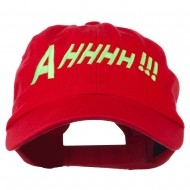 Ahhhh Embroidered Pet Spun Washed Cap - Red