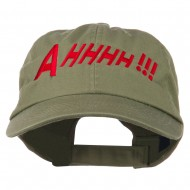 Ahhhh Embroidered Pet Spun Washed Cap - Olive