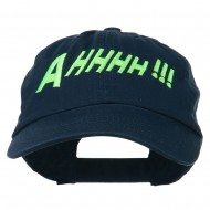 Ahhhh Embroidered Pet Spun Washed Cap - Navy