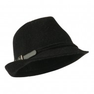 Angora Fedora with Belt Buckle Accent - Black