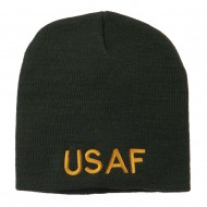 US Air Force Military Embroidered Short Beanie - Olive