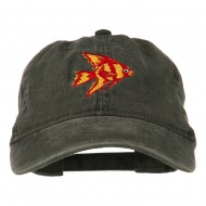 Angel Fish Embroidered Washed Dyed Cap - Black