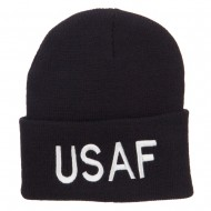 US Air Force USAF Embroidered Long Beanie - Black