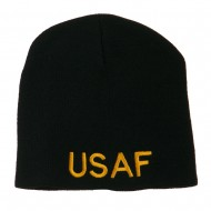US Air Force Military Embroidered Short Beanie - Black