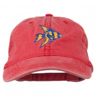 Angel Fish Embroidered Washed Dyed Cap - Red