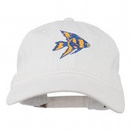 Angel Fish Embroidered Washed Dyed Cap - White